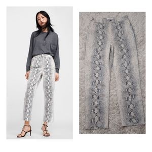 ZARA Woman Jeans Premium Cropped Snake Print High Waist size 4
